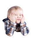 Rapaz pequeno pensativo imagens de stock royalty free