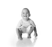 Rapaz pequeno preto e branco Imagens de Stock Royalty Free
