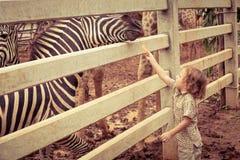 Rapaz pequeno que alimenta um girafa no jardim zoológico Imagem de Stock Royalty Free