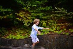 Rapaz pequeno que anda no parque no verão Imagens de Stock