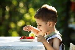 Rapaz pequeno que come corintos vermelhos Fotografia de Stock Royalty Free