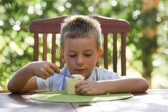 Rapaz pequeno que come o pudim Imagem de Stock Royalty Free