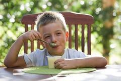 Rapaz pequeno que come o pudim fotografia de stock royalty free