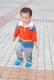 Rapaz pequeno que corre na terra Fotos de Stock Royalty Free
