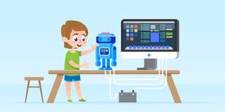 Rapaz pequeno que cria e que programa o robô esperto Ilustração isolada do vetor Conceito do desenvolvimento da primeira infância ilustração royalty free