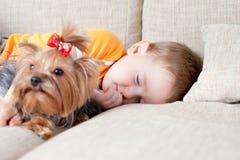 Rapaz pequeno que dorme e que abraça cão loving york fotografia de stock