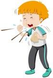 Rapaz pequeno que está com a gripe ilustração stock