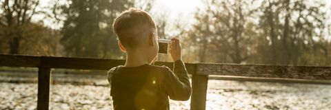 Rapaz pequeno que fotografa a natureza Foto de Stock Royalty Free