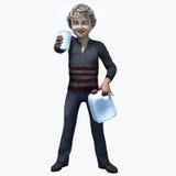 Rapaz pequeno que guarda o copo e o contatiner 4 Imagens de Stock Royalty Free