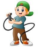 Rapaz pequeno que guarda o jogo do manche ilustração do vetor