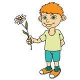 Rapaz pequeno que guarda uma flor Fotografia de Stock Royalty Free