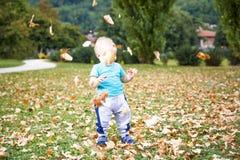 Rapaz pequeno que joga com as folhas no outono Foto de Stock Royalty Free