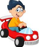 Rapaz pequeno que joga com seu brinquedo do carro ilustração stock