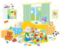 Rapaz pequeno que joga com tijolos ilustração stock