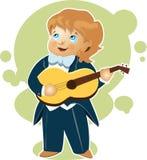 Rapaz pequeno que joga desenhos animados da guitarra Fotografia de Stock