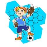 Rapaz pequeno que joga o futebol como um vetor do goleiros Fotografia de Stock Royalty Free