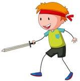 Rapaz pequeno que joga o swordfight Imagens de Stock