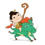 Rapaz pequeno que monta o vetor dos desenhos animados do cavalo fotos de stock