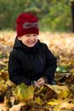 Rapaz pequeno que senta-se nas folhas de outono, rir, olhando slyly, foto de stock royalty free