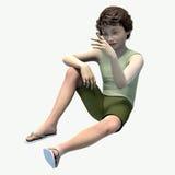 Rapaz pequeno que senta-se olhando a lagarta Imagens de Stock Royalty Free