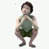 Rapaz pequeno que squatting olhando a aranha Imagem de Stock