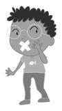 Rapaz pequeno que tem a atadura na boca Fotografia de Stock Royalty Free