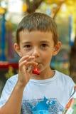 Rapaz pequeno que tem o divertimento e os sopros um assobio Fotografia de Stock