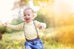 Rapaz pequeno que tem o divertimento em um prado Imagens de Stock