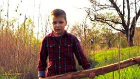 Rapaz pequeno que tenta levantar um ramo caído filme