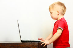 Rapaz pequeno que usa o computador do PC do portátil em casa Fotos de Stock