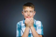 Rapazes pequenos assustado e chocados do close up Expressão humana da cara da emoção Imagem de Stock