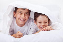 Rapazes pequenos que giggling junto Fotografia de Stock Royalty Free