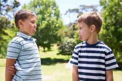 Rapazes pequenos que têm uma luta fotos de stock royalty free
