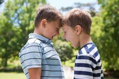 Rapazes pequenos que têm uma luta imagem de stock