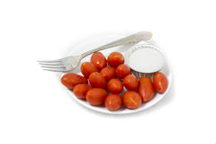 Rape Cherry Tomatoes. Isolated over white background Royalty Free Stock Photography