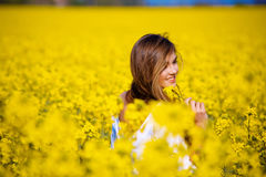 In rape field Royalty Free Stock Photos