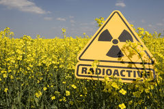 Rape field with sign radio-active Stock Photos