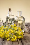Rape flower on wooden table Royalty Free Stock Photos