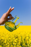 Rape oil, bottle, blossoming rape field Royalty Free Stock Images