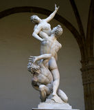Rape of Sabine women. Statue of rape of Sabine in Florence Stock Image