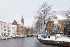 Rapenburg canal winter Royalty Free Stock Image