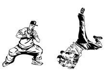 Raper και χορευτής στο άσπρο υπόβαθρο Ακραία σύγχρονη τυπωμένη ύλη θέματος Απομονωμένος στο λευκό ελεύθερη απεικόνιση δικαιώματος
