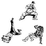 Raper and street dancers on white background. Extreme theme modern print. Isolated on white vector illustration