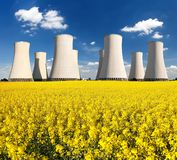 Rapesed Field Nuclear Power Plant Cooling Tower Royalty Free Stock Photo