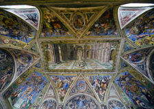 Raphael Rooms - Hall of Constantine. Hall of Constantine, Raphael Rooms - view of the ceiling. The Raphael Rooms (Stanze di Raffaello) are a series of previous Stock Images