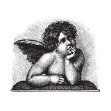Raphael's Love Cherub (vector). Raphael's Sistine Madonna Love Cherub, vectorized engraving; scalable and editable vector image; hi-res jpg included royalty free illustration
