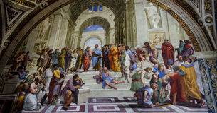 Raphael Sanzio wall painting. Inside the Vatican stock image