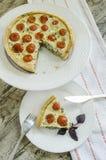 Rapiécez la tarte avec les tomates-cerises, le fromage et les oignons du plat blanc Photographie stock libre de droits