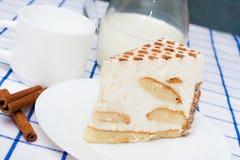 Rapiécez le tiramisu italien de gâteau (dessert) d'un plat blanc cannelle Image stock
