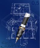 Rapich. Vector blueprint of the house with pen Stock Photography